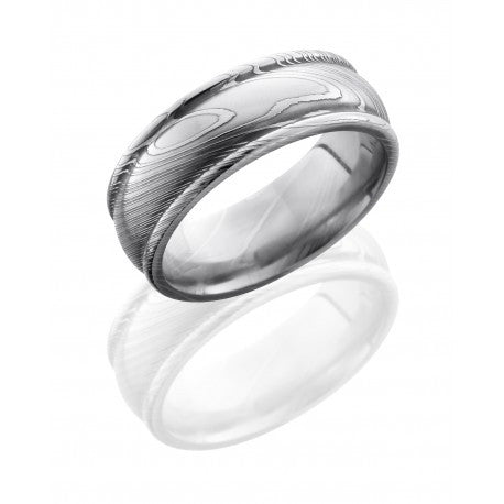 Damascus Steel 8mm Domed Band with Rounded Edges