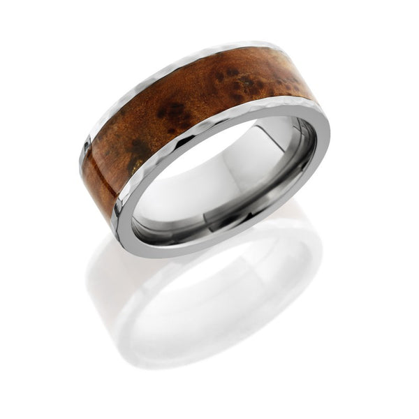 Thuya Burl Wood Inlay Titanium Band