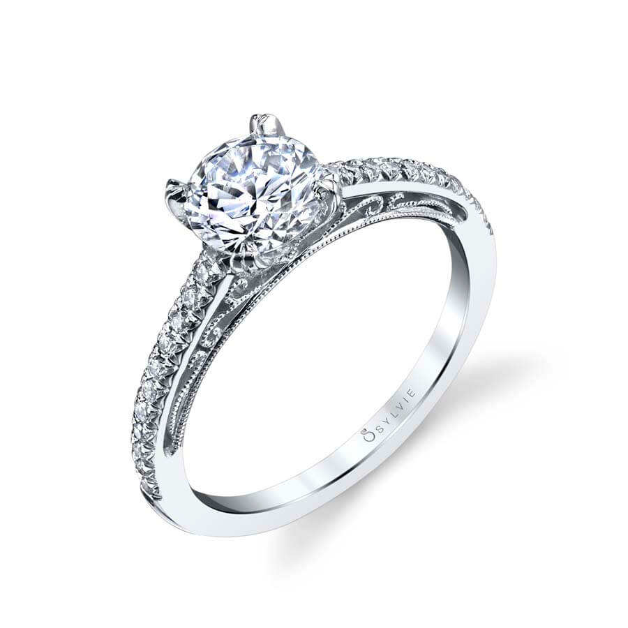 Sylvie Collection Amorette Diamond Engagement Ring