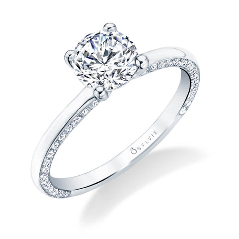 Sylvie Collection Messaline Diamond Engagement Ring