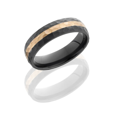 Black Zirconium Band with Rose Gold Inlay