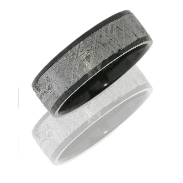 Zirconium 7mm Flat Band with 5mm Meteorite inlay