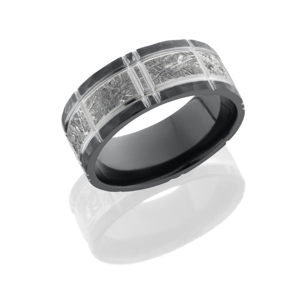 Zirconium 8.5mm Flat Band with 5mm Meteorite inlay and Crosshatch Pattern