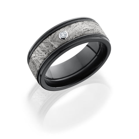 Zirconium 8.5mm Flat Band with Grooved Edges, Milgrain, 5mm Meteorite inlay, and .05ct Diamond
