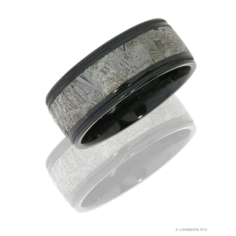 Zirconium 8.5mm Flat Band with Grooved Edges, Milgrain, and 5mm Meteorite inlay