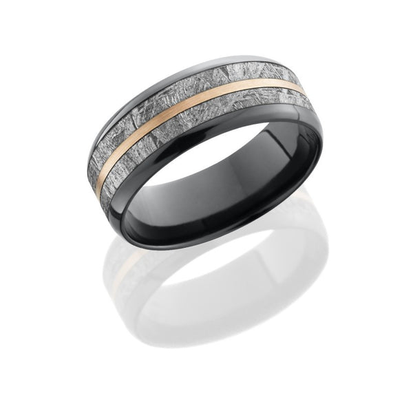 Zirconium 8mm Flat Band with Beveled Edges, 5mm Meteorite and 1mm 14K Rose Gold inlays