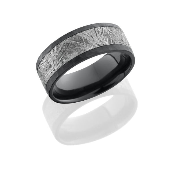 Zirconium 8mm Flat Band with 5mm Meteorite inlay