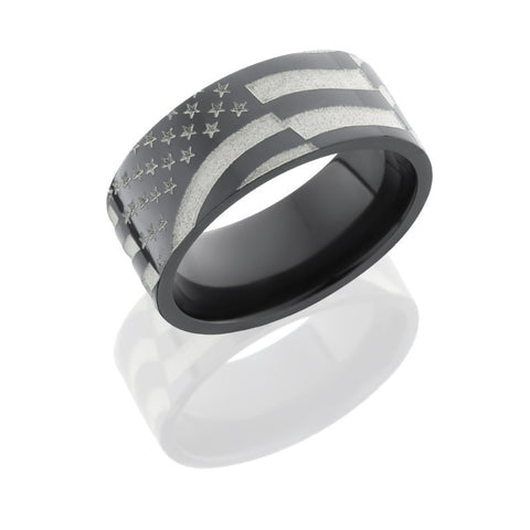 American Flag Laser Carved Zirconium Band