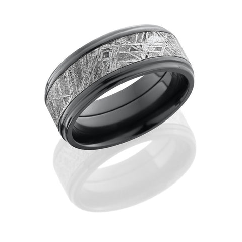 Zirconium 9mm Flat Band with Grooved Edges and 5mm Meteorite inlay