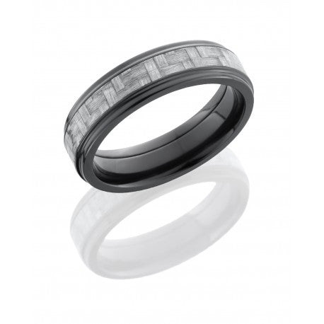 Zirconium 6mm Flat Band with Grooved Edges and 3mm Silver Carbon Fiber inlay