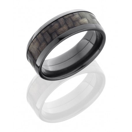 Zirconium 8mm Flat Band with Beveled Edges and 5mm Carbon Fiber inlay