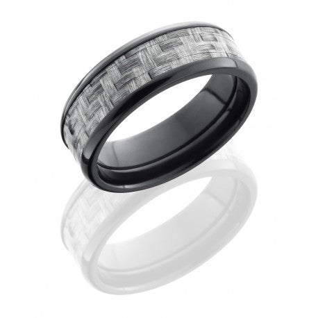 Zirconium 8mm Flat Band with Beveled Edges and 5mm Silver Carbon Fiber inlay