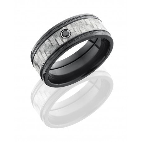 Zirconium 9mm Flat Band with Grooved Edges, 5mm Silver Carbon Fiber inlay and .05ct Black Diamond