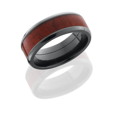 Honduras Redheart Wood Inlay Zirconium Band