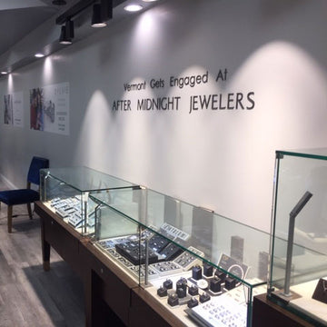 Interior of jewelry store with showcase