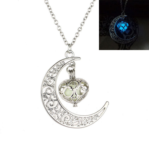 Glowing Heart and Moon Pendant
