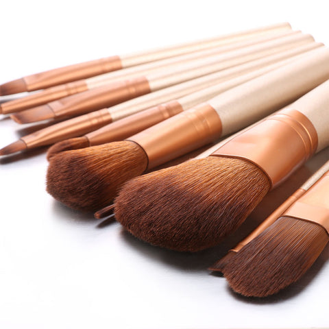 12Pcs Coffee Wood Makeup Brush Kit