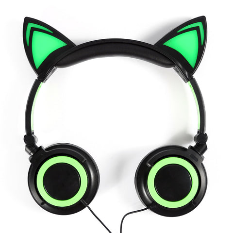 Foldable Cat Ear with LED Light Headphones