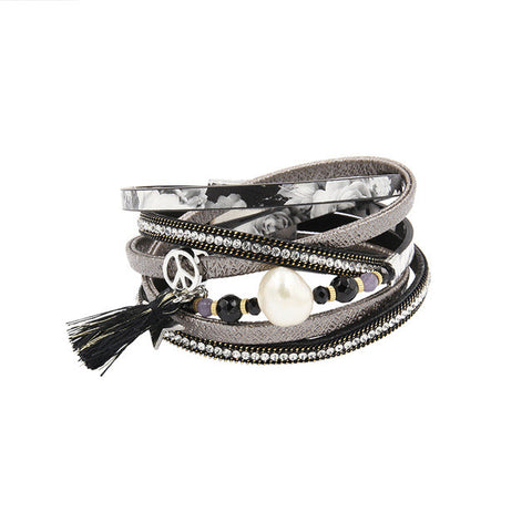 Feminine Wrap Leather Bracelets for Women Crystal & Pearl