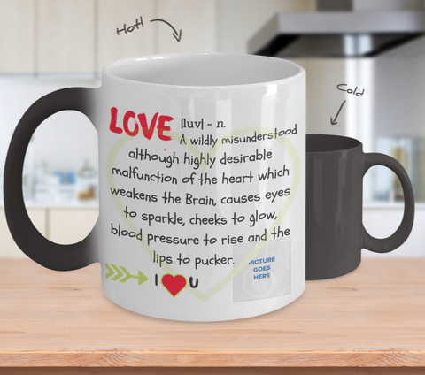 """Love"" Changing Color Mug (Insert Picture)"