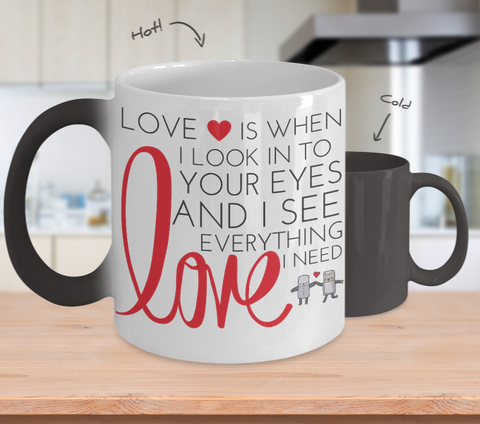 """I See Love"" Changing Color Mug"