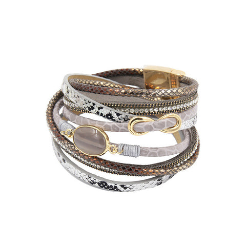 Trendy Rhinestone Wrap Leather Bracelet