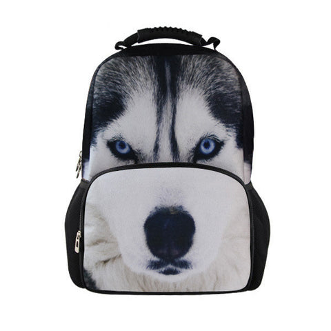 3D Dog Print Solid Backpack
