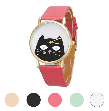 Crazy Cat Watch with Leather Band