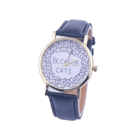 Because Cats Watch with Leather Band