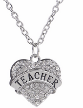 Load image into Gallery viewer, Crystal Rhinestone Heart Teacher Necklace