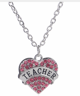 Crystal Rhinestone Heart Teacher Necklace