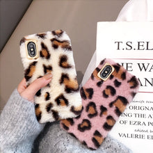 Load image into Gallery viewer, Leopard Plush Fur iPhone Case