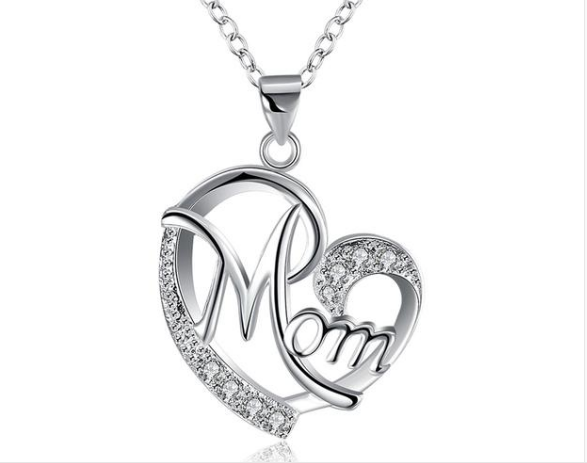 Mom Heart Pendant Necklace with Austrian Rhinestones