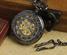 Load image into Gallery viewer, Mechanical Skeleton Pocket Watch with a Black Pearl Finish