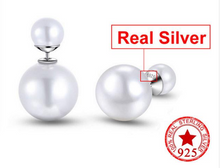 Load image into Gallery viewer, Classic Pearl Double Sided Stud Earrings