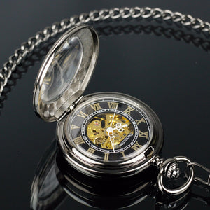 Mechanical Skeleton Pocket Watch with a Black Pearl Finish