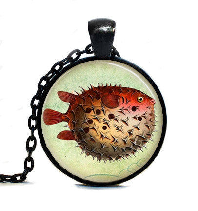 SteamPunk Pufferfish Vintage Glass Dome Pendant Necklace