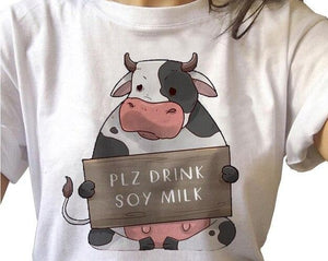 Vegan Shirt - Plz Drink Soy Milk