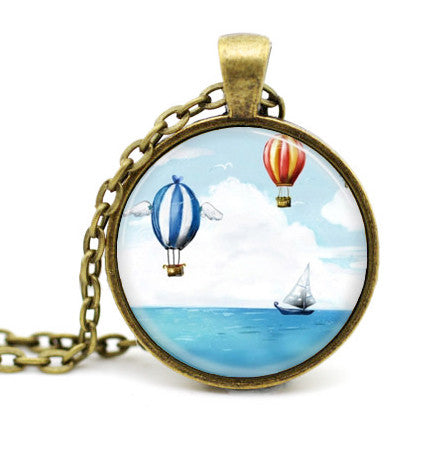 Steampunk Airships over the Ocean Vintage Glass Dome Pendant Necklace