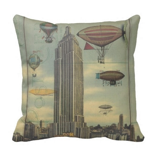 Steampunk Airships In The Sky Over New York City Decorative Pillow Case