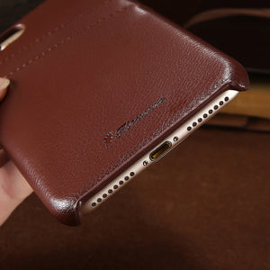 iPhone 100% Genuine Cowhide Leather Case with Card Wallet