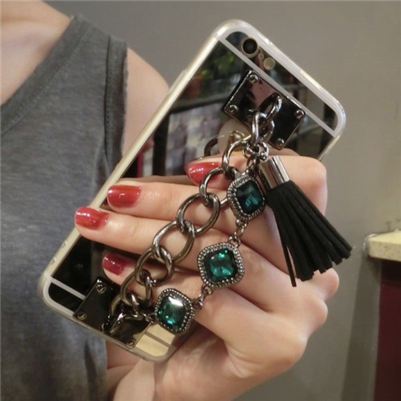 iPhone Mirror Case with Jewelled Chain & Tassel Strap