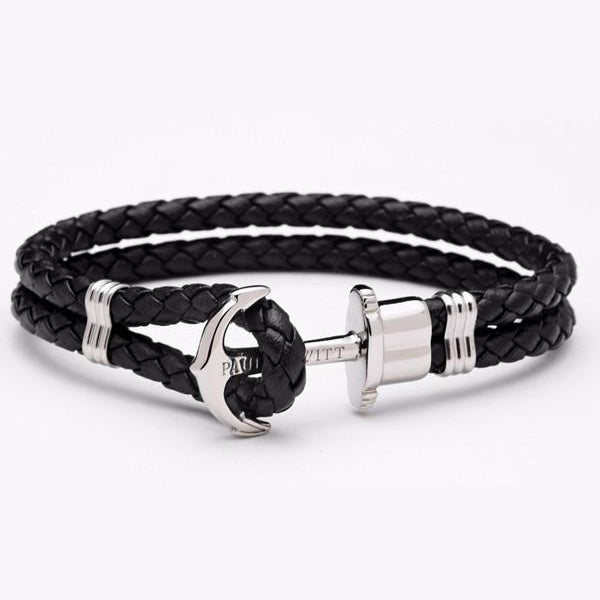 Men's Anchor Leather & Titanium Steel Bracelet