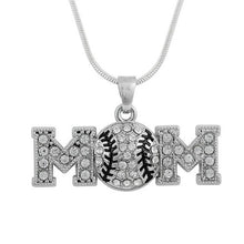 Load image into Gallery viewer, Baseball Mom Enamel and Austrian Pave Crystal Necklace