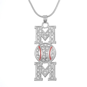 Baseball Mom Enamel and Austrian Pave Crystal Necklace
