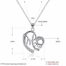 Load image into Gallery viewer, Mom Heart Pendant Necklace with Austrian Rhinestones