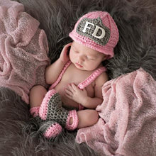 Load image into Gallery viewer, Baby Girl Firefighter Fireman Crochet Outfit