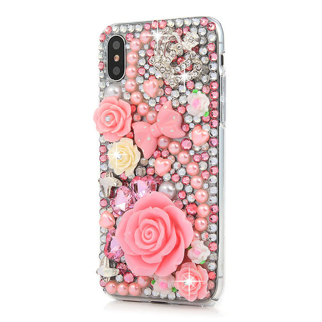 iPhone Bejeweled Rhinestone Case - Pink Flowers