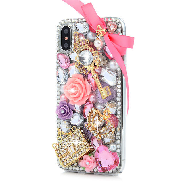iPhone  Bejeweled Rhinestone Case - Pink Power