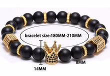 Load image into Gallery viewer, Micro Pave Black Crown Charm Bracelet